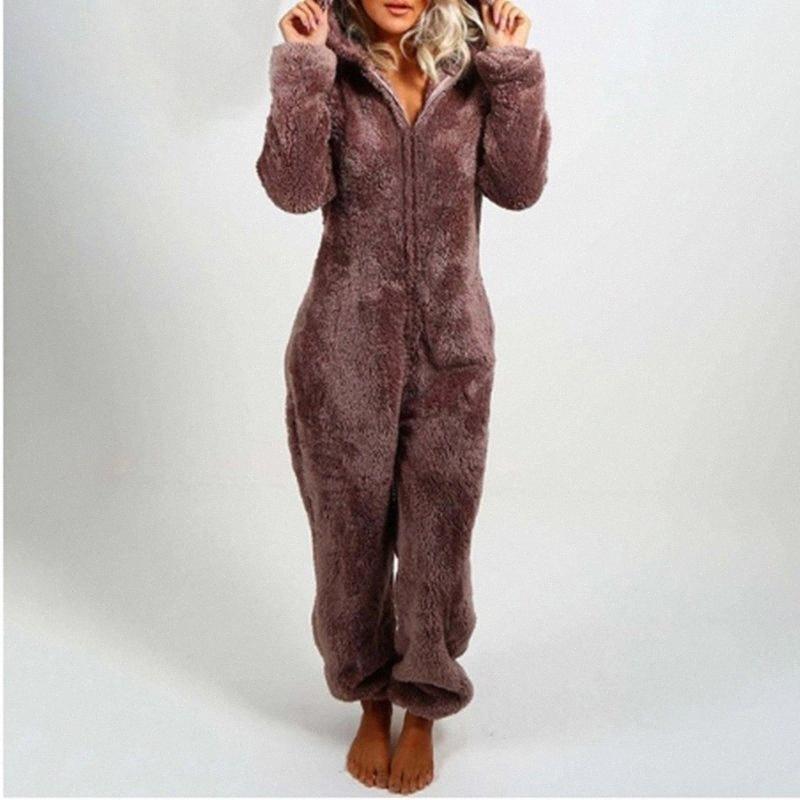 New Autumn Winter Cute Fleece Plush Warm Hooded Jumpsuit Pajamas Women Long Sleeve Solid Color Loose Casual Sleepwear Homewear h2ER#