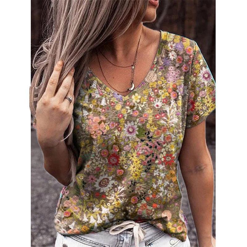 Camiseta para mujer Camiseta casual de verano Camisetas de manga corta camisetas Flor Imprimir Calle Tops Femenino V-cuello suelto 5xl PLUS Size Top Pullover