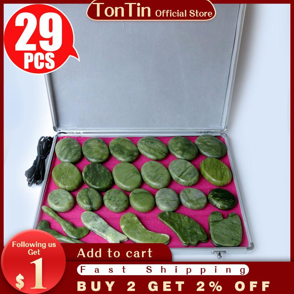 En iyi satış! 29 adet / takım Vücut Masaj Taşlar Masaj Taş Set Sıcak Taş Yeşil Yeşim Masaj Plaka Isıtıcı Kutusu CE ve ROHS ile
