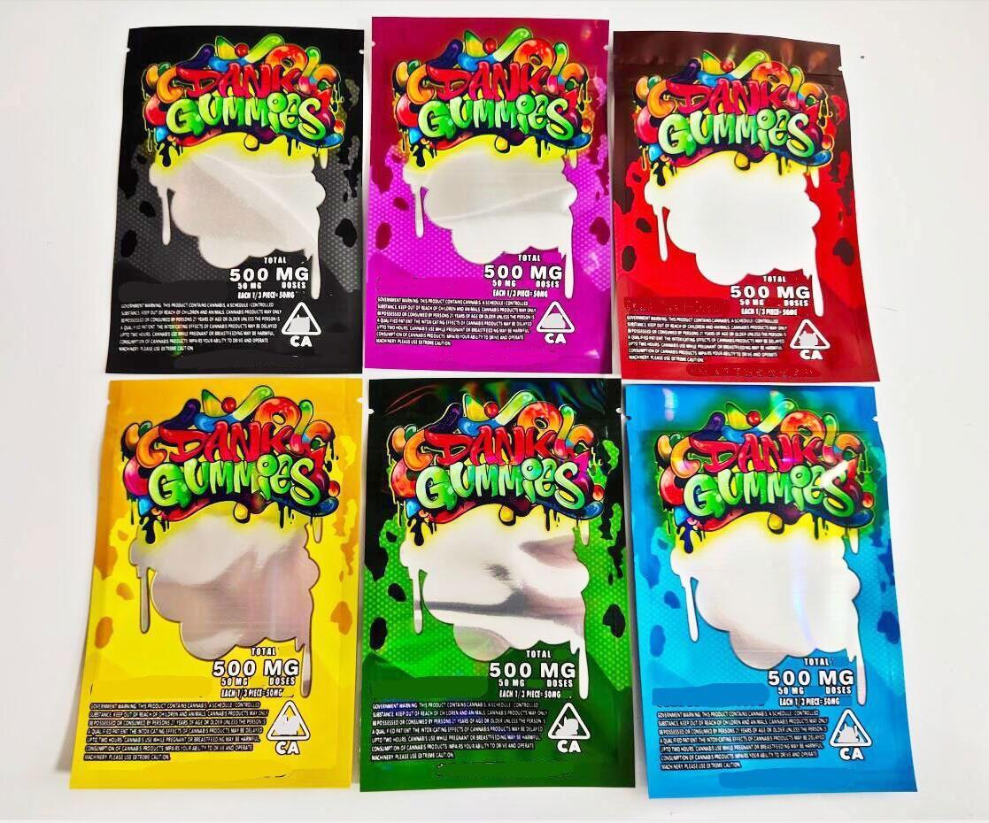 Edibles Packaging 500mg Dank Gummies Borse Borse Worms Bears Cubes Gummy Commercio all'ingrosso da Factory Chuckles Runtz Runty
