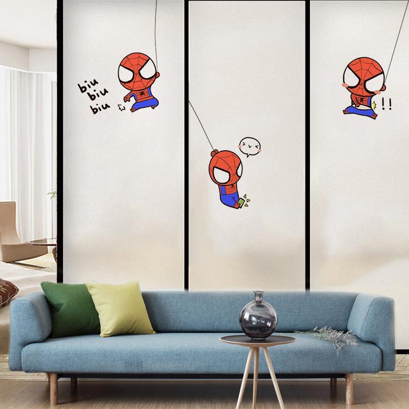 정전기 접착 Q 귀여운 만화 캐릭터 침실 욕실 창문 문 불투명 한 방수 썬 스크린 유리 페이스트 필름