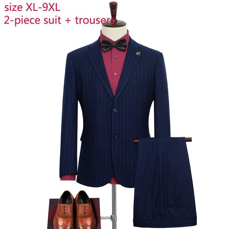 Men's Suits & Blazers High Quality Men Autumn Two Piece Suepr Large Blue Stripe Groom Formal Mens Wedding Plus Size XL-3XL4XL5XL6XL7XL8XL9XL