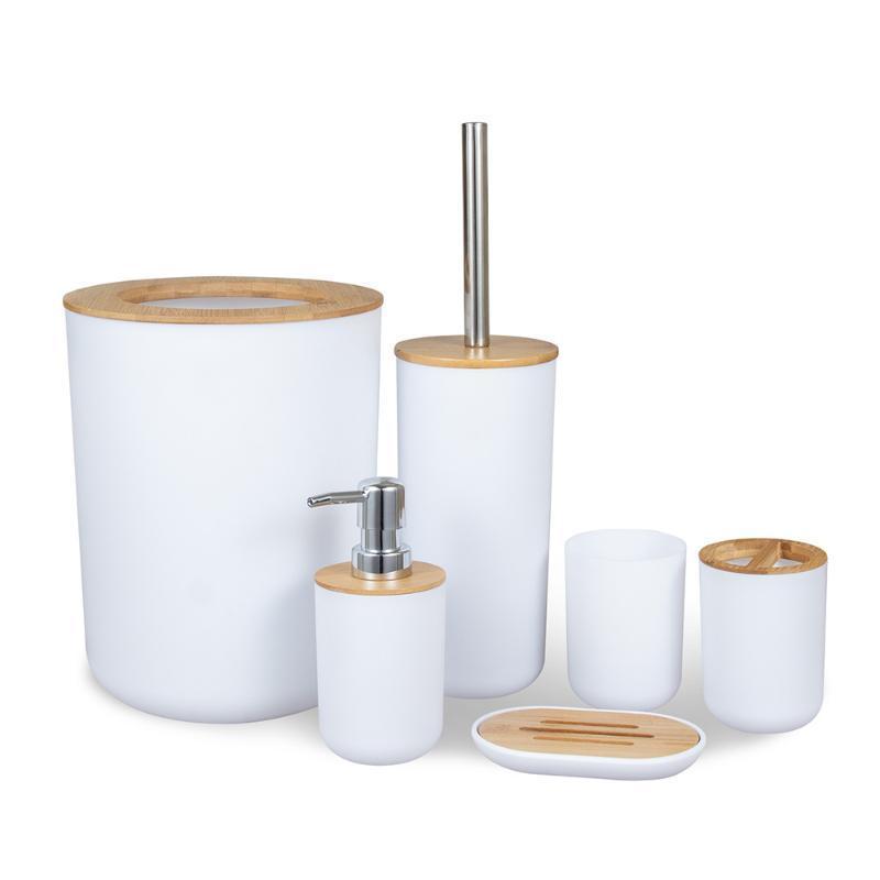 Conjunto acessório de banho Bambu madeira banheiro Toothbrush titular saboneteira prato lixo lata de escova de toalete recipiente enxaguatório buckloth lote garrafa