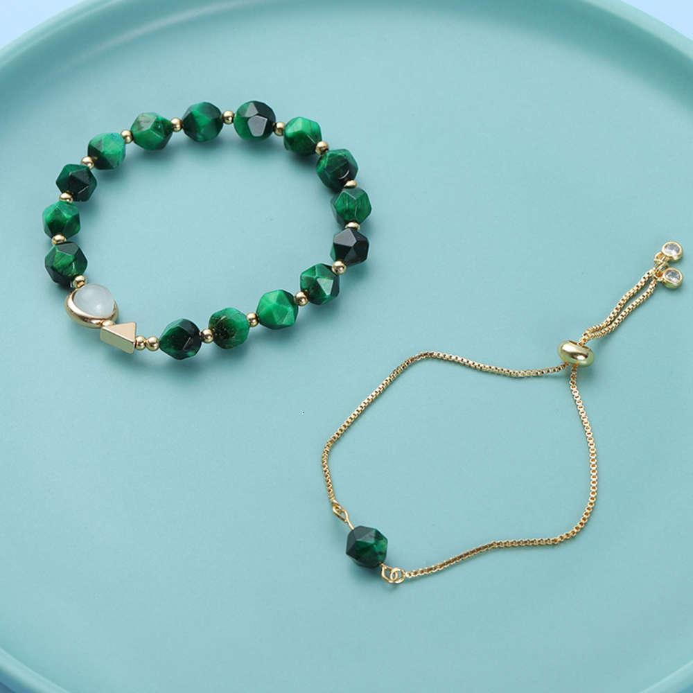 Корейский свет роскошный зеленый тигр глаз камень 2-х частей женской личности браслет