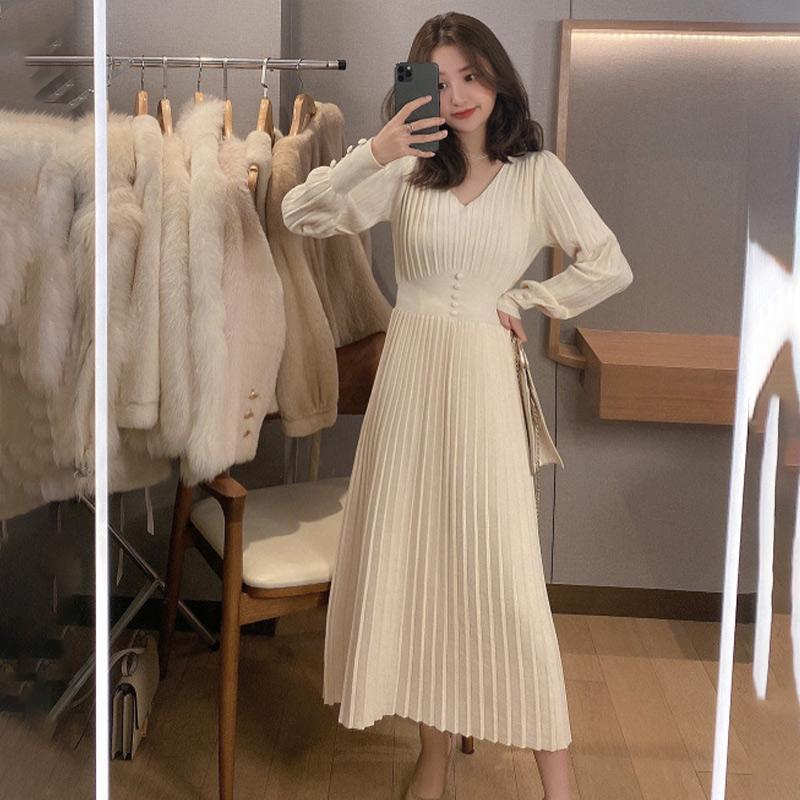 Casual Dresses Damen Kleid Strick Lange Laterne Ärmel Feste Frau Pullover Plissee Elegante Büro Tunika Taste 2021 Koreanische Vestidos
