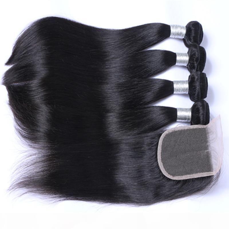 Малайзийские человеческие волосы с закрытием необработанные человеческие волосы с кружевным закрытием 4шт на лот Малайзийские прямые волосы с закрытием