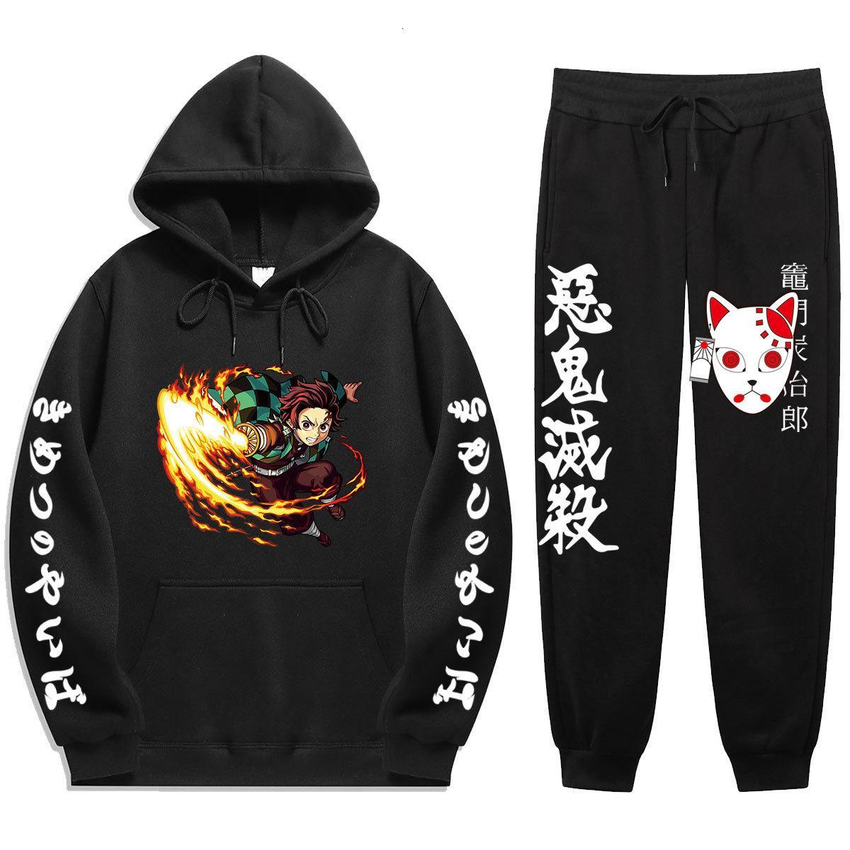 2021 Yeni Anime Demon Slayer Kış Eşofman Parçası Seti Tanjiro Baskı Hoodies Sportwear Erkekler Spor Suit Kapüşonlu Sweatshirt Harajuku ZWLK