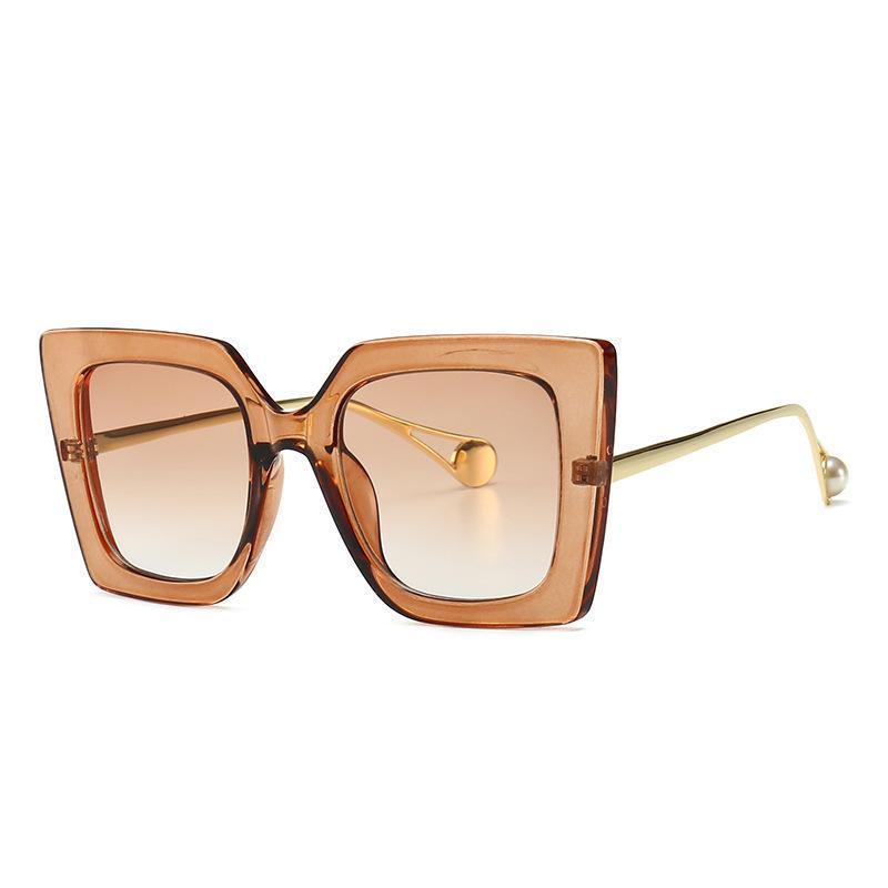 New INS Popular Moda Diseñador de lujo Lindo Cat Eye Eye Flora de gran tamaño Mujeres Gafas de sol Piedra de Pearl