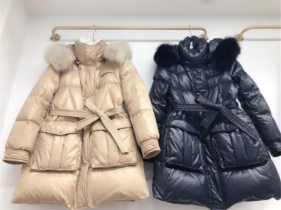 Europeu popular 2020 mulheres inverno médio longo moda cintura raposa colarinho branco casaco de eiderdown