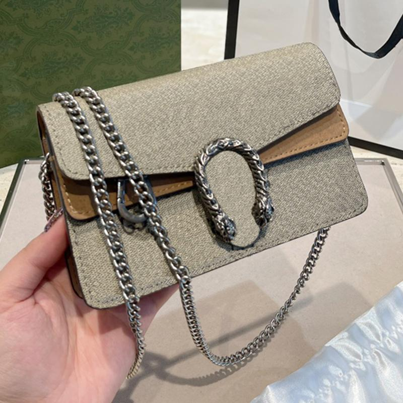 Klassische Luxusmode Marke Brieftasche Vintage Dame Braunes Leder Mini 17cm Handtasche Designer Kette Umhängetasche mit Kasten Großhandel