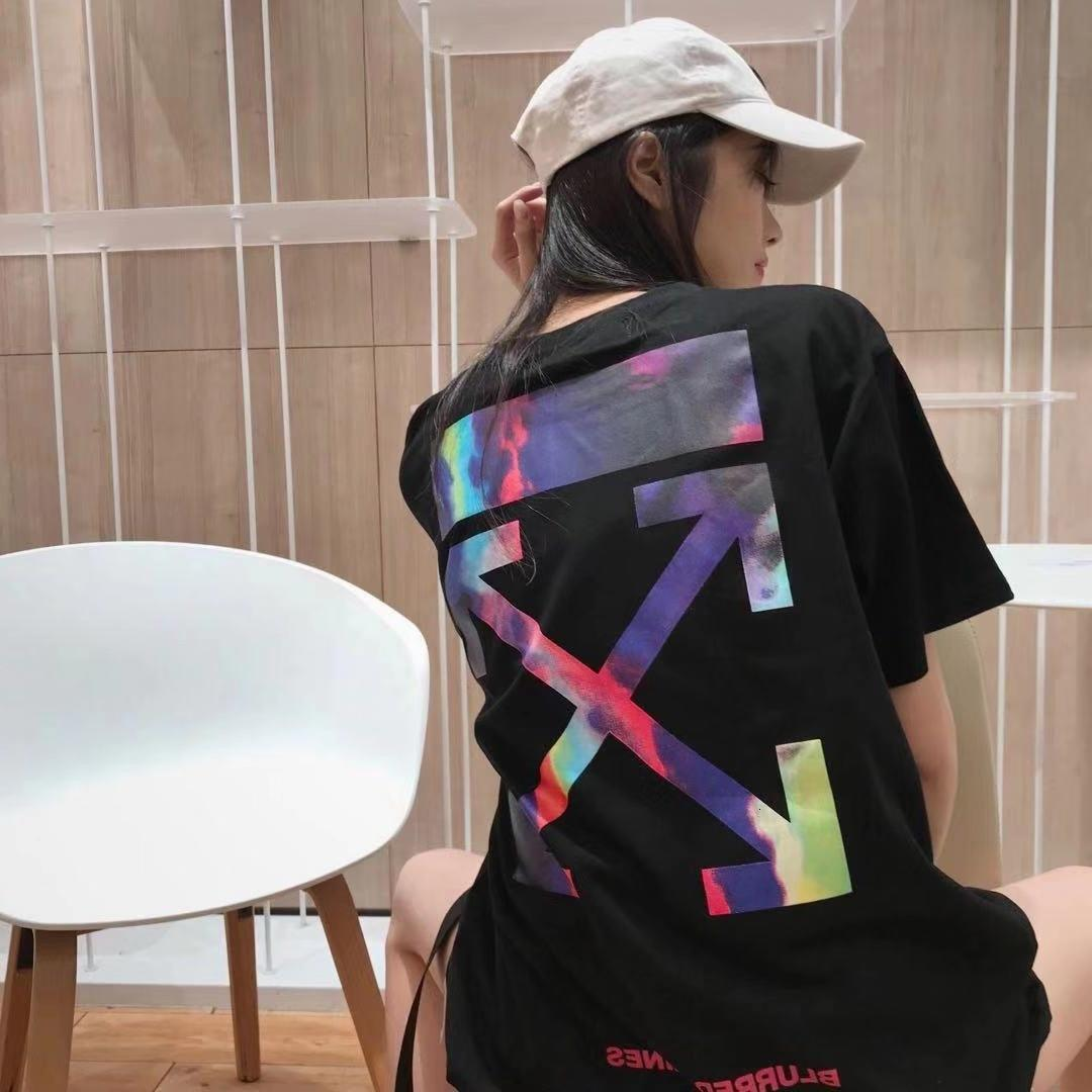 Begrenzter Kontrast Sternhimmel Primärfarbe Mode Marke Direkter Verkauf Rundhalsausschnitt Paar Kurzarm
