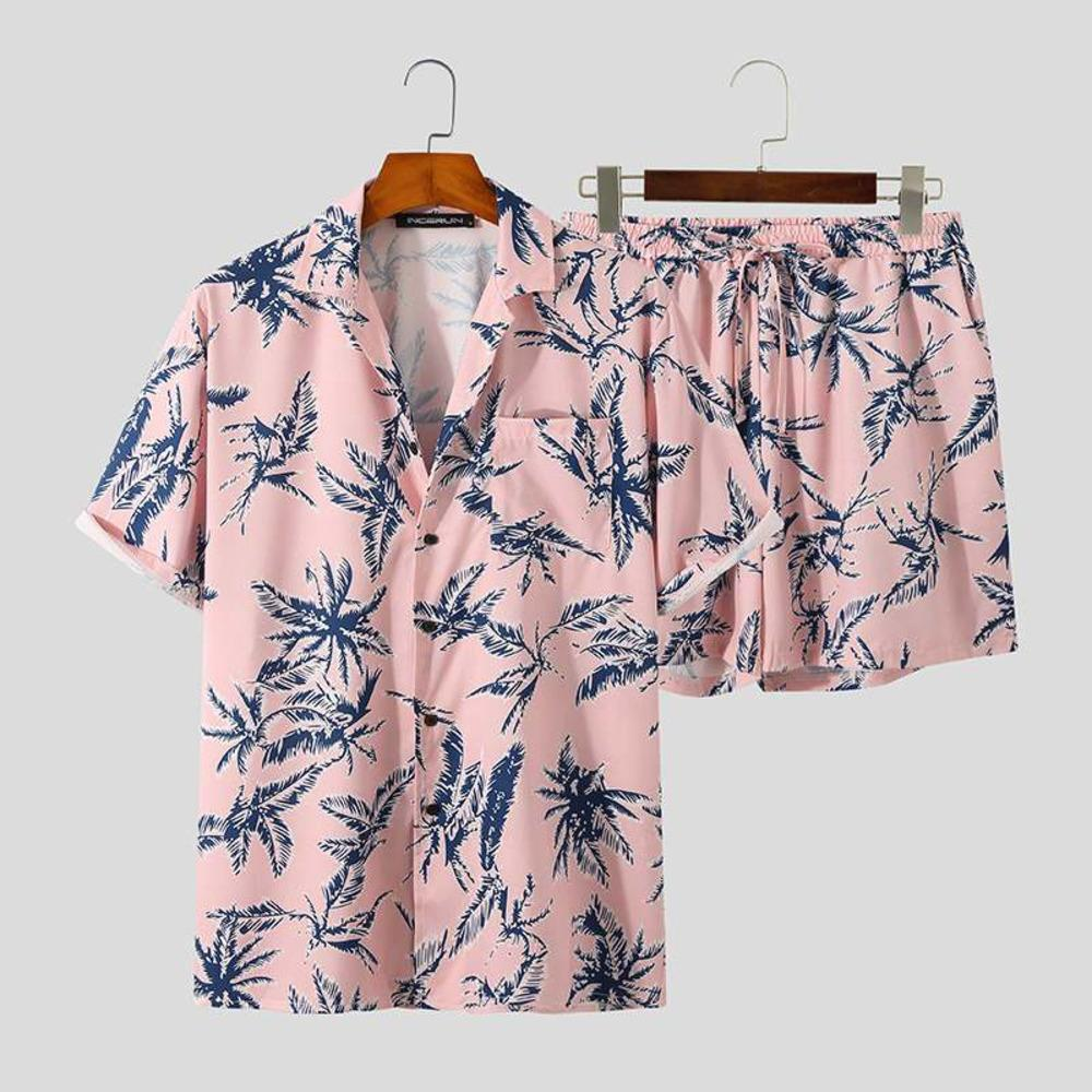 InfaRun Druck Männer Hawaiian Sets Streetwear Kurzarm Hemden Strand Shorts 2021 Sommerurlaub Casual Herrenanzüge 2 Stück X0601