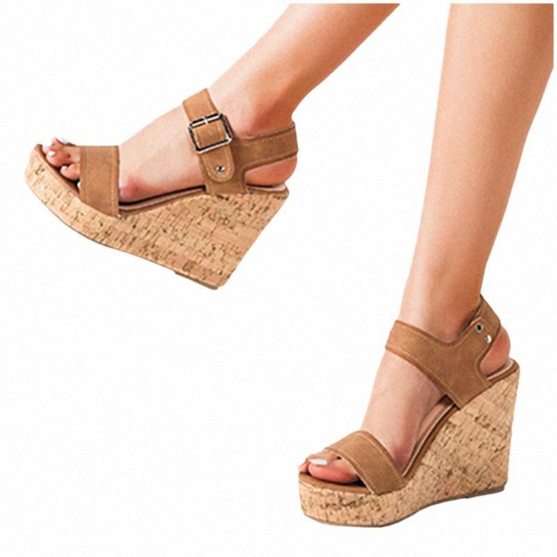 Sandalias de cuña Plataforma Sandalias Sandalias Casuales Zapatos Tobillo Hebilla Correa Abre Toe Summer Super Suave Ortopedic Heels W2SZ #