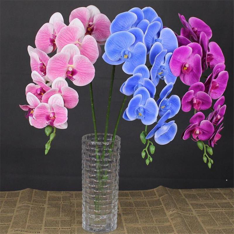 """4pcs 가짜 모이스춰 라이징 난초 (9 헤드 / 조각) 40.55 """"웨딩 홈 인공 꽃을위한 시뮬레이션 진짜 터치 3D Phalaenopsis 인공 꽃 DHF5110"""