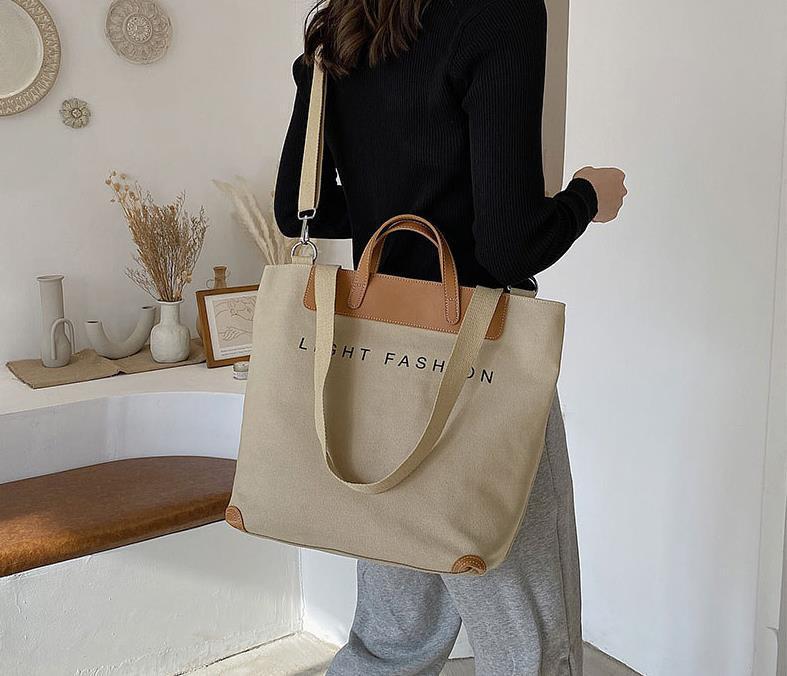 Сумки New 2021 Мода Одно плечо Холст Сумка Messenger Сумка Женская Объемная сумка Большой емкости
