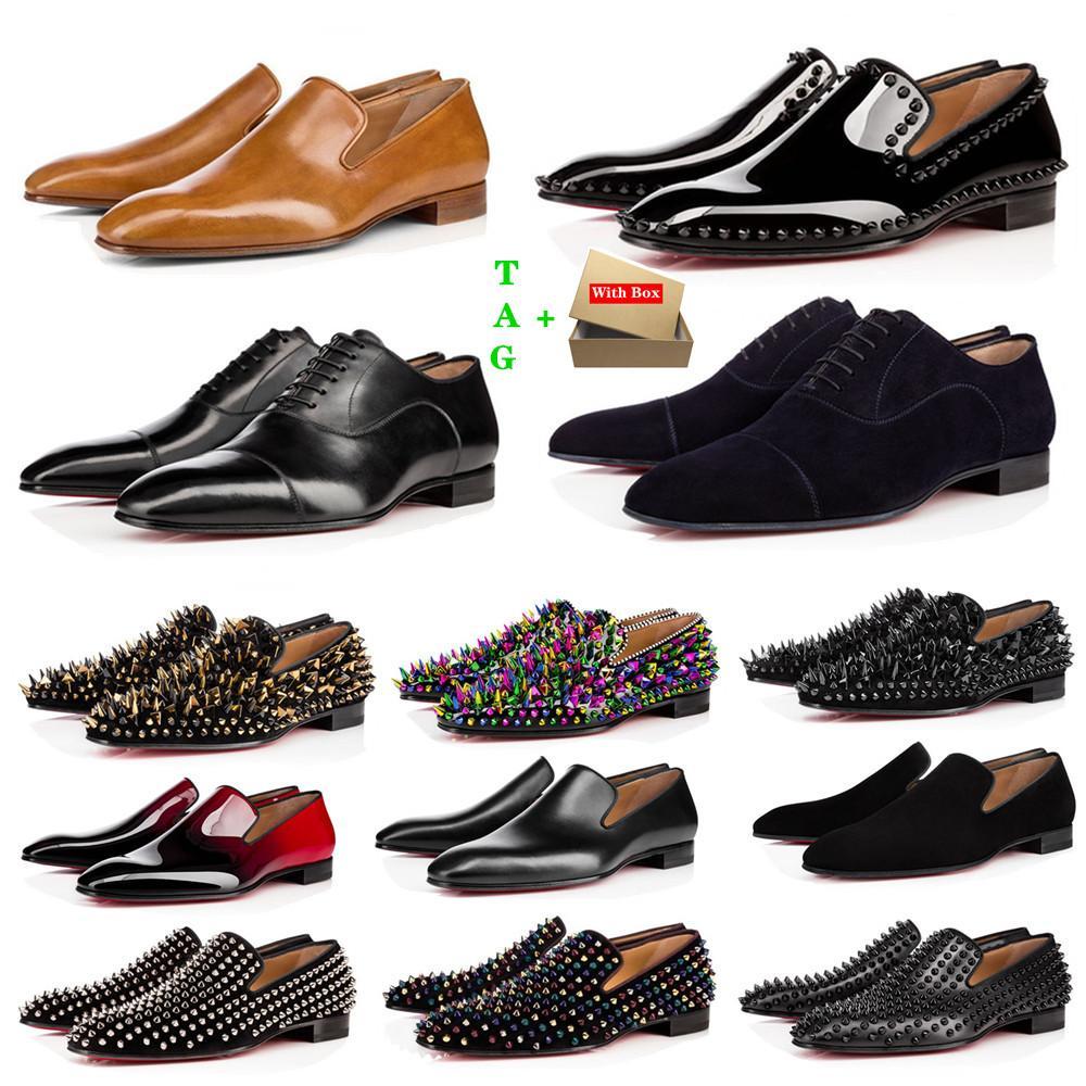 Brand mens rosso scarpe scarpe designer basso rivetti piatti uomo business business banchetto vestito scarpa lussurys brevetti in pelle scamosciata picchi stylist vera stilista scarpe da ginnastica in pelle