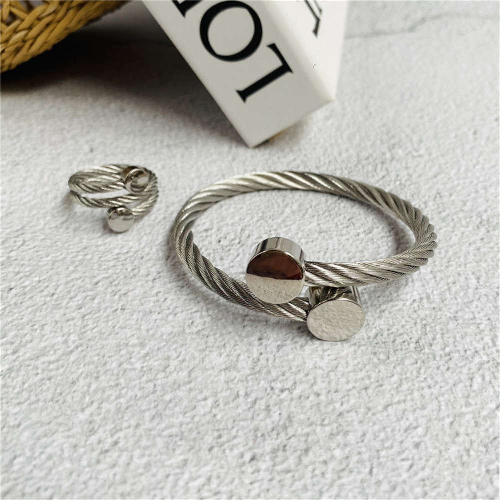 Гладкая таблетка открыта ювелирные изделия мужская и женская мода титана из нержавеющей стали веревочный браслет кольцо