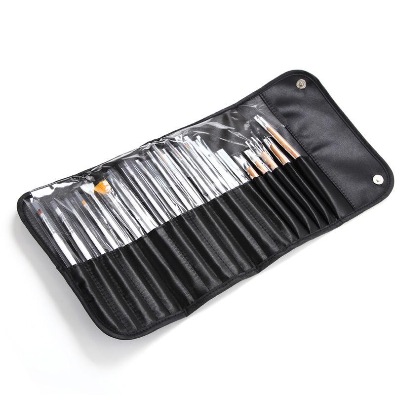 20 adet Tırnak Fırçalar Çanta Ile Set Paketleme Süsleme Boyama Kalem Çizim Lehçe Jel Fırça Nail Art Aracı Kiti Manikür Tasarım DIY