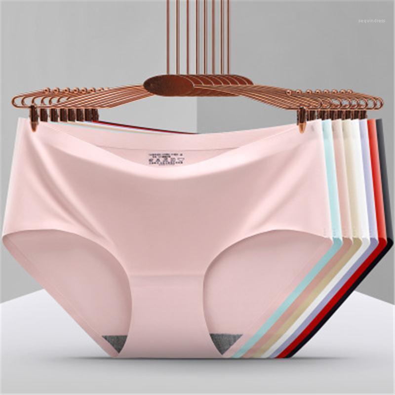 Biancheria intima della vita femminile New Erotic Lingerie Casual Briefs Comunicati Slip da donna senza cuciture Ice Silk Mutandine Moda Trend Trend Colori solidi Medio