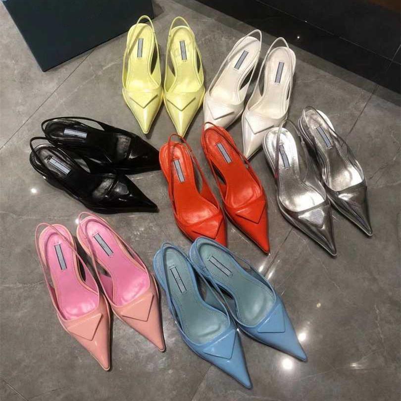 Femmes Design de luxe Été Sandales pointues Cat Heel Baotou Fashion Femme Cuir Véritable Bouche peu profonde Chaussures à talons hauts Talons Sandal Chaussures 7 Couleurs