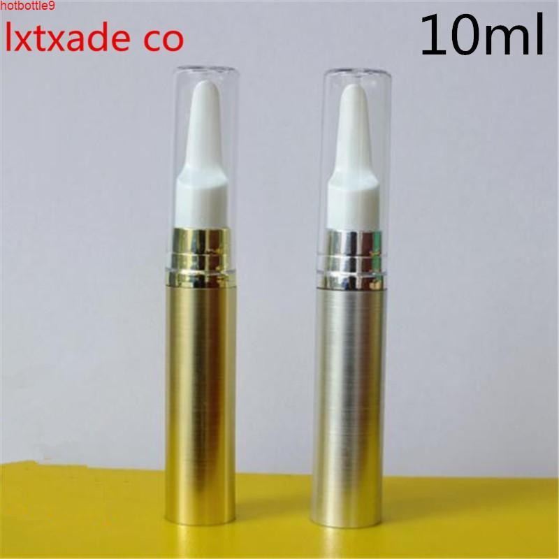 شحن مجاني 10 ملليلتر الذهب الفضة فارغة حزمة زجاجة مضخة القلم أعلى درجة إعادة الملء مصغرة العين جل حاويات التجميل الأساسية Qualtity