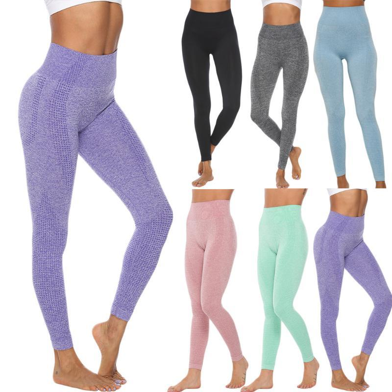 Yoga Outfits Woman's Sports Pants Pure Color Hip Lifting Elasticity Fitness Running High Waist Tight Leggings@40