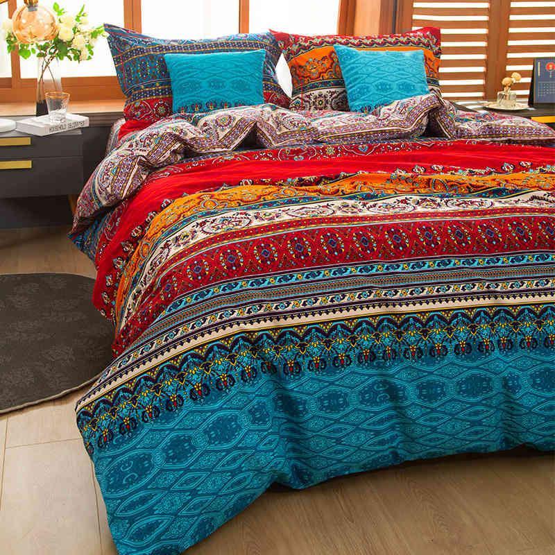 3d المعزي مجموعات الفراش ماندالا حاف الغطاء مجموعة الشتاء ملاءات وسادة الملكة الملك الحجم السرير السرير السرير