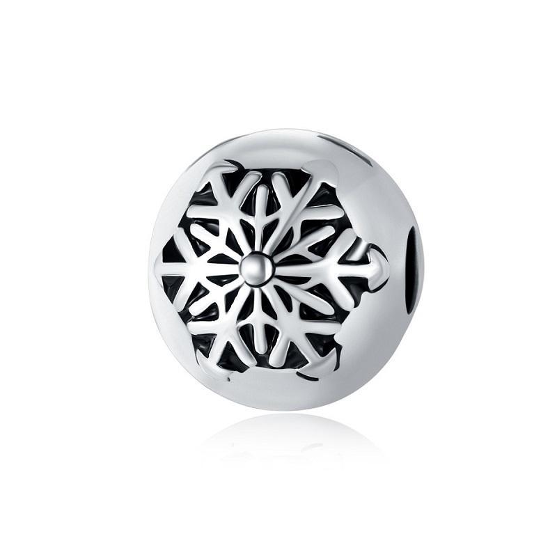 Fit Pandora Sterling Silver Pulseira Snowflake Charms Beads Beads Espaçador Elegante Bead Clipe Fit Fit Charme Europeu Biagi Braceletes Jóias DIY