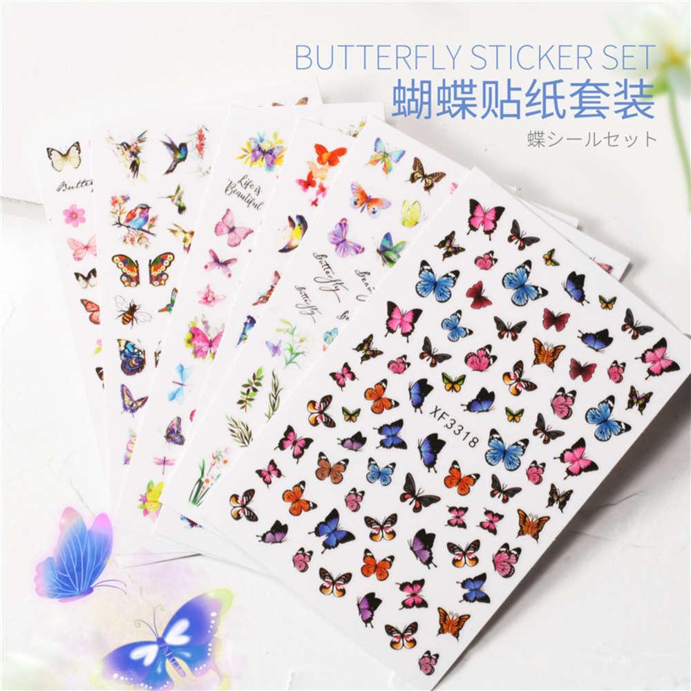 Bestseller Maniküre Schmetterling Aufkleber Set von 6 wasserdichten und reizenden Schmetterlingsnagelaufkleber