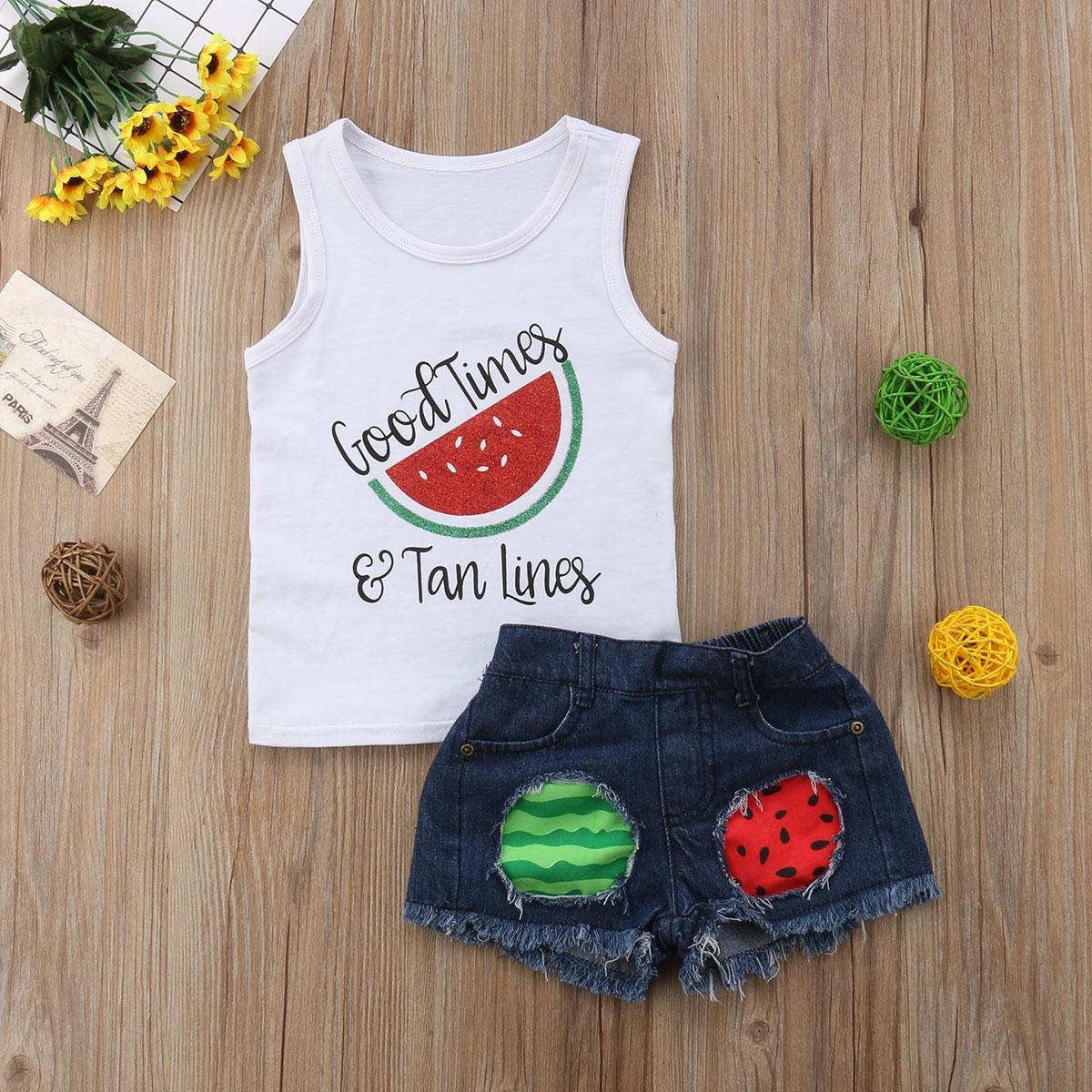 1-6Y Sommer Kleinkind Baby Mädchen Sets Reizend Hübsch 2 stücke Wassermelone Brief Drucken Weiße Weste Tops Shorts Kleidung Sets