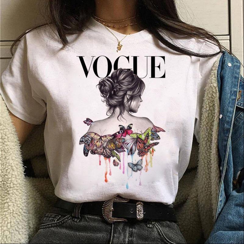 Mulheres mulheres camiseta harajuku aquarela borboleta menina imprimir manga curta moda feminina tee tops