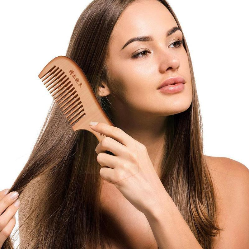 Hair Brushes 18cm Natural Wooden Wide Tooth Comb Sandalwood Floral Print Care Wood Handmade Beauty Massage Q1F8
