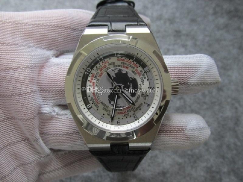 43.5mm Haute Qualité Carte de la Terre Citys Hommes Regardez Montre Montre-Bracelet Étanche Mouvement automatique Bracelet Mécanique Cadeau Anniversaire Père