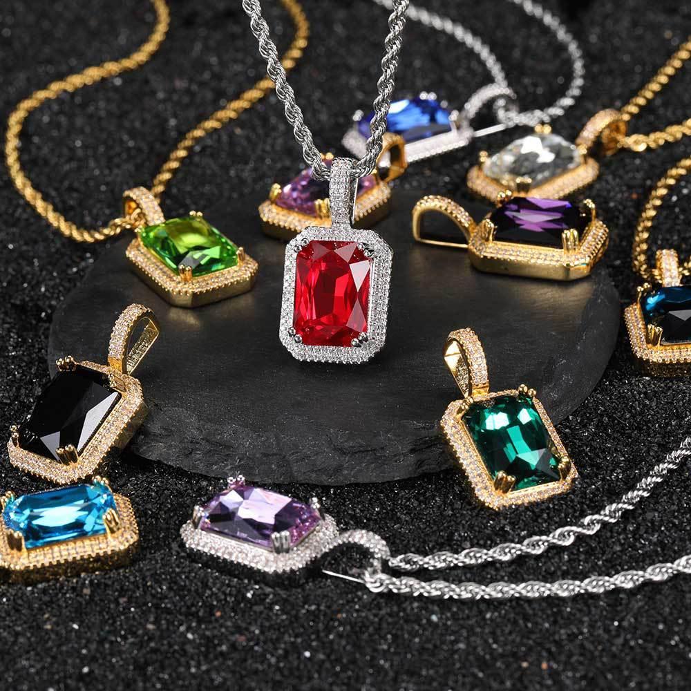 الملونة مربع الأحجار الكريمة المعلقات بلينغ كامل مكعب زركون المختنق سلسلة القلائد للنساء الهيب هوب المجوهرات
