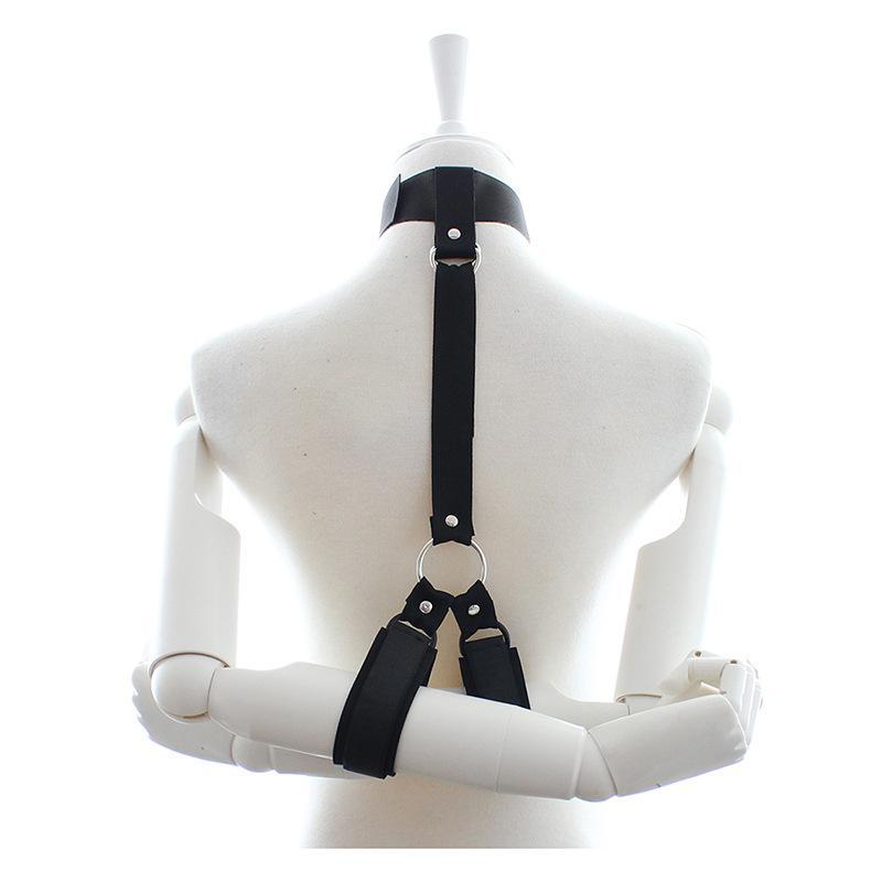 ホットアイテム女性の上半身束の手首と首の縛られたボンデージ貞操ベルト装置BDSMセックスグッズC406
