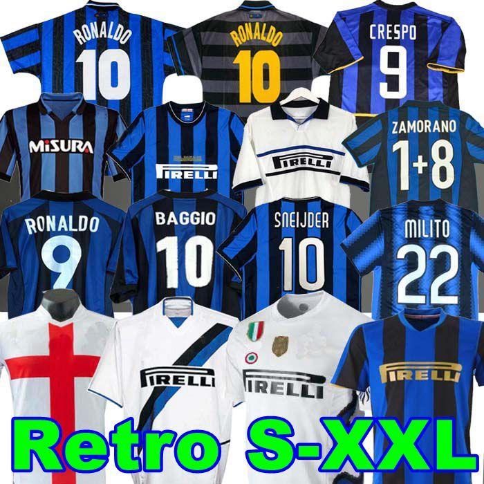 Finals 2009 10 Milito Sneijder Zanetti Retro Soccer Jersey Eto'o Football 97 98 99 02 03 Djorkaeff Baggio Ronaldo Adriano Milan 10 11 07 08 09 Inter Batistuta Zamorano