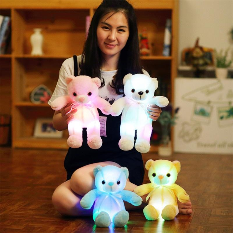 30 cm 50 cm Papillon Teddy Bear Bambola dell'orso luminoso con LED incorporato LED luce luminosa luminosa Valentine's Day Regalo Giocattolo Peluche 251 U2