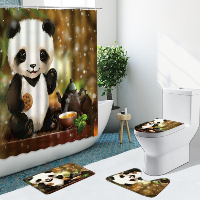 Duschvorhänge Ölgemälde Tier Panda Grün Bambus Badezimmer Set Vorhang Rutschfeste Teppiche Flanell Teppichabdeckung mit Haken Bad Matte Dekor