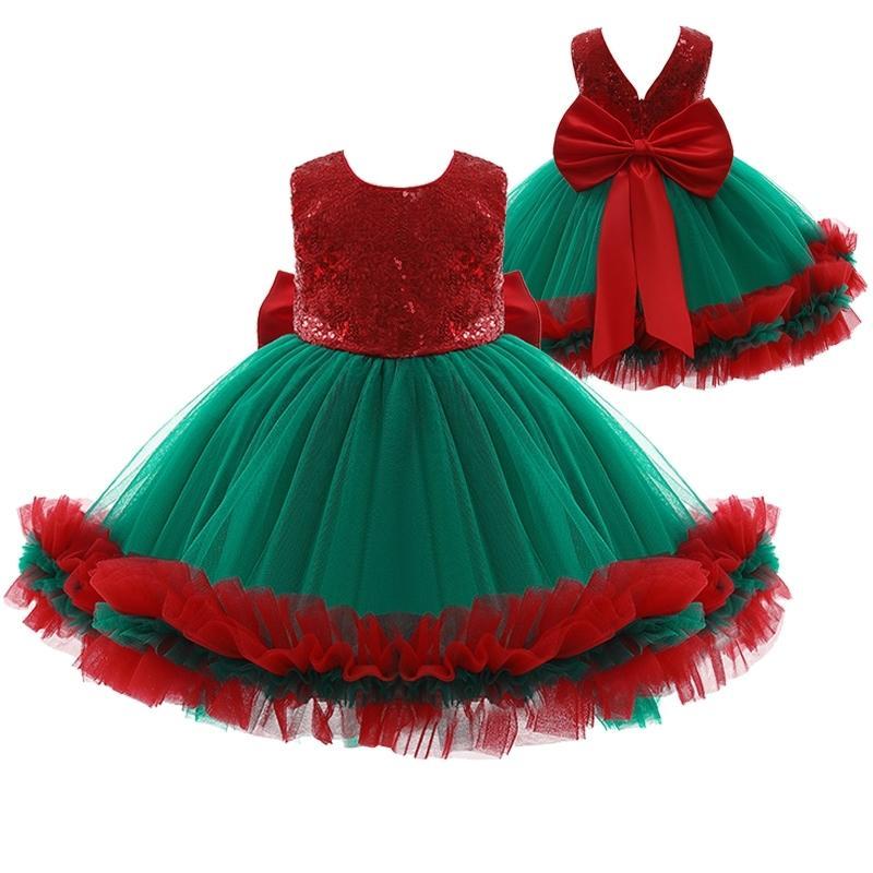Новорожденные дети платье косплей рождественские костюм девушки вечеринка платье лук сетки принцессы платья для дня рождения подарок девочка платья 210317