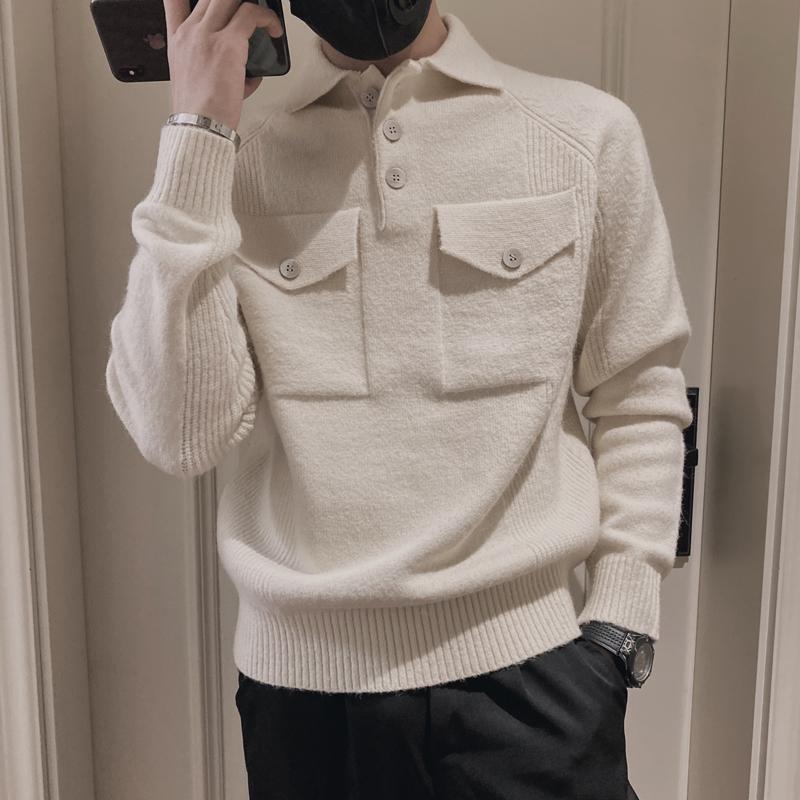 Suéteres para hombres 2021 Ropa de marca Hombres Invierno Alta calidad Slim Fit Thermal Kidted / Mascule Fashion Ocree Set Head S-3XL Beige
