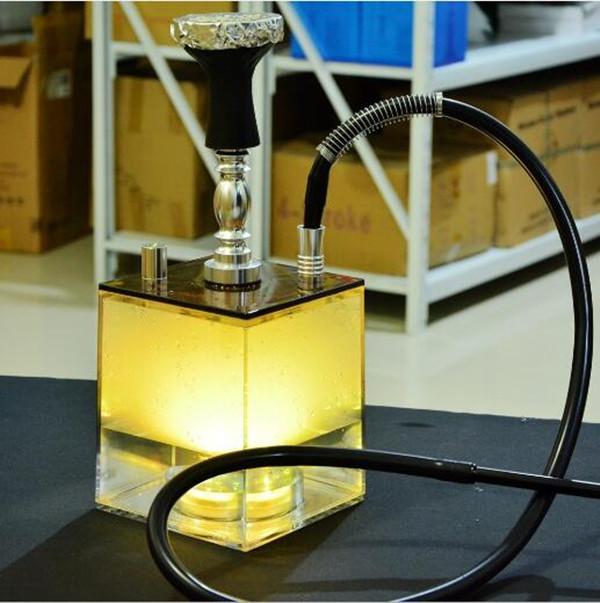LED Light Shisha Hookah Arabic Shisha Hookah products direct sales set square body Shisha Hookah Hose Water Bongs Smoke Pipe Heady glass Dab