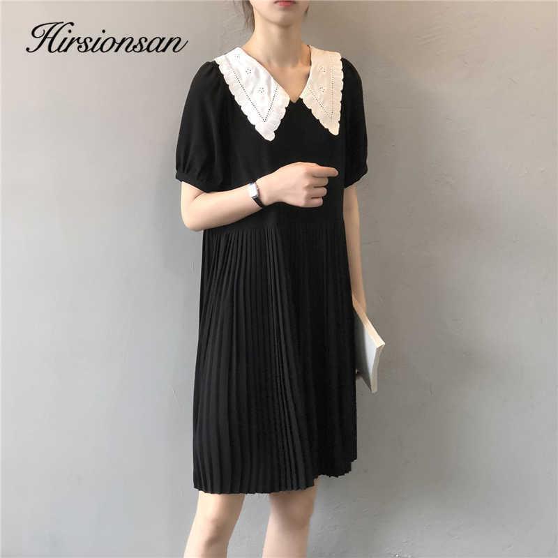 Hirsionsan Revers Plissee Kleid Kleider Frauen Sommer Elegante Chic A-Line Weibliche Minikleid Weiches Schwarzes Kleid 210603