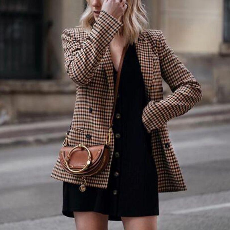 Мода осень женщины плед пиджаки и куртки рабочие офис Леди костюм тонкий двубортный бизнес женский пиджак пальто таливер