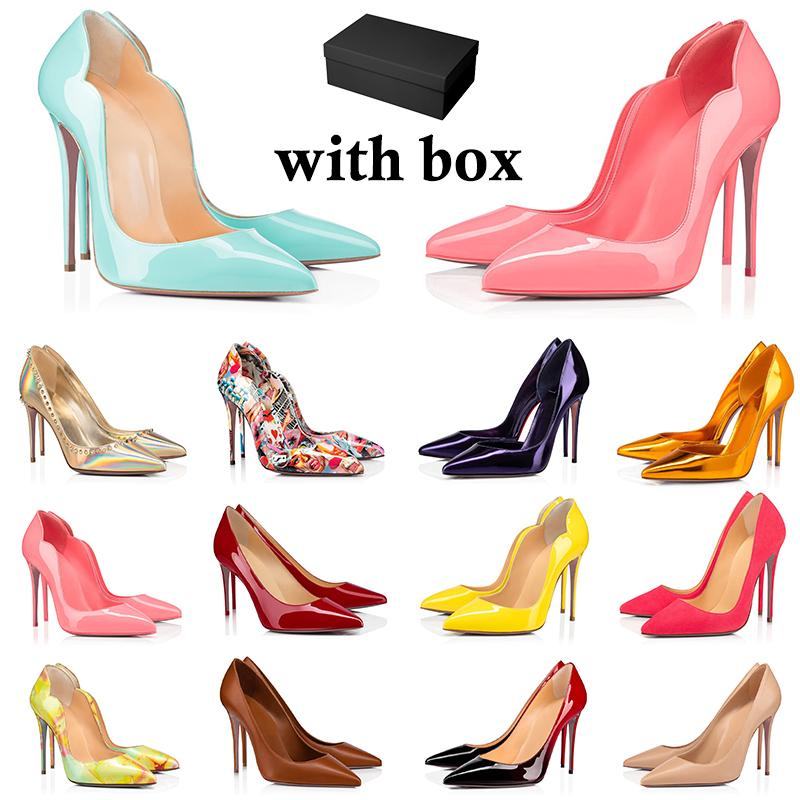 2021 красная нижняя обувь мода высокие каблуки для женщин вечеринка свадьба тройной черный обнаженный желтый розовый блеск шипы заостренные пальцы насосы платье