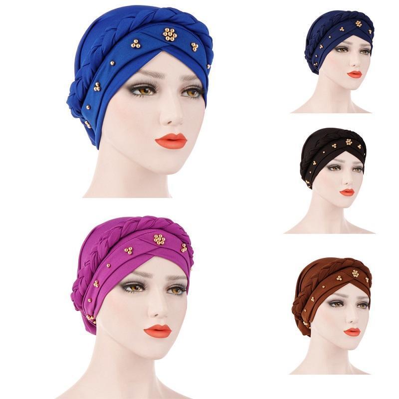 민족 의류 골드 펄 페르시 여성 인도 모자 이슬람교 터번 이슬람 모자 웨딩 브레이드 테일 화학 비니 스카프 Hijab Cancer Wrap C
