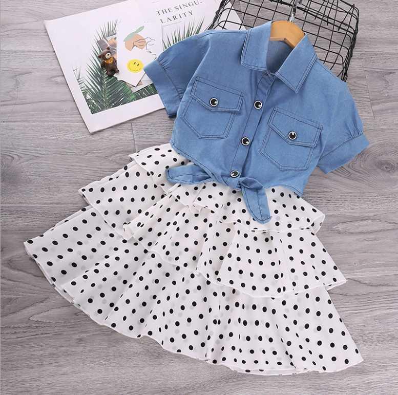 Yeni Yaz Çocuk Giysileri Bebek Kız Elbiseler Jartiyer Baskı Yay Yelek Elbise Çocuk Giyim Ücretsiz Kargo