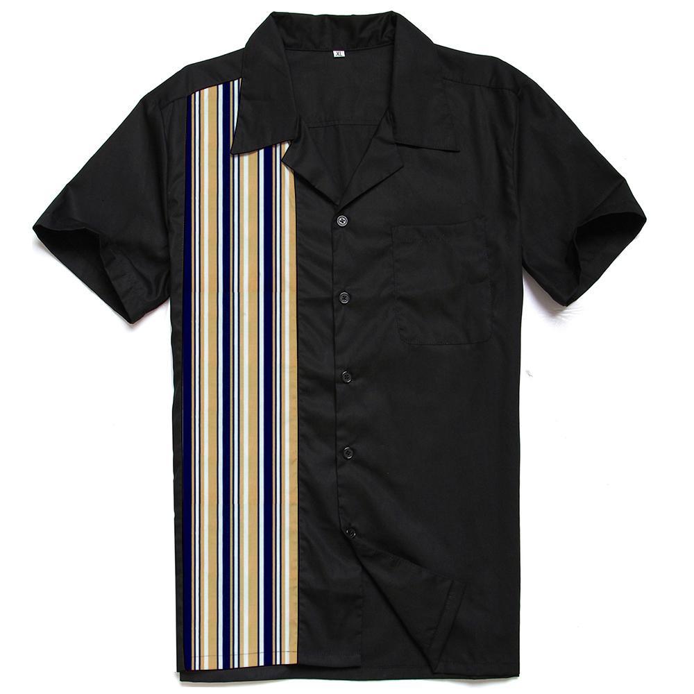 2021 Camisa de Rockabilly dos homens novos com listra impressa retrô Retro Estilo Rock n Roll Chemise Homme 80s Club Camp Colares P3D6