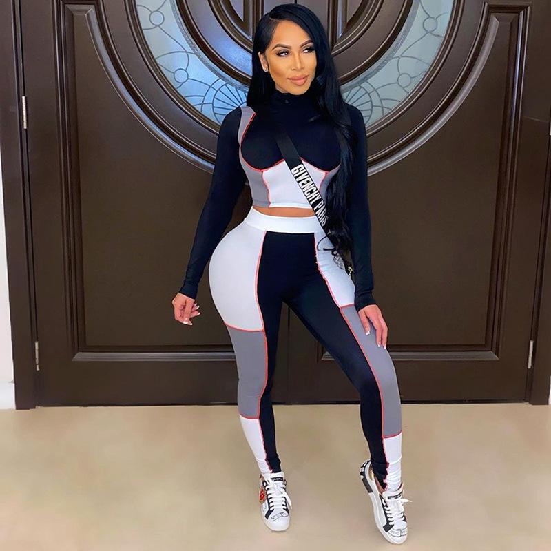 2021 feminino respirável Tracksuit Multi-Color Stitching Sport Teet Fitness Fitness Jogging Terno Mulheres Dois Peça Set Correndo Sportswear