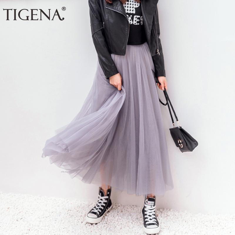 Tigena Tül Etekler Bayan Yaz Uzun Maxi Etek Kadın Elastik Yüksek Bel Pileli Tutu Etek Güneş Siyah Gri Beyaz 210305