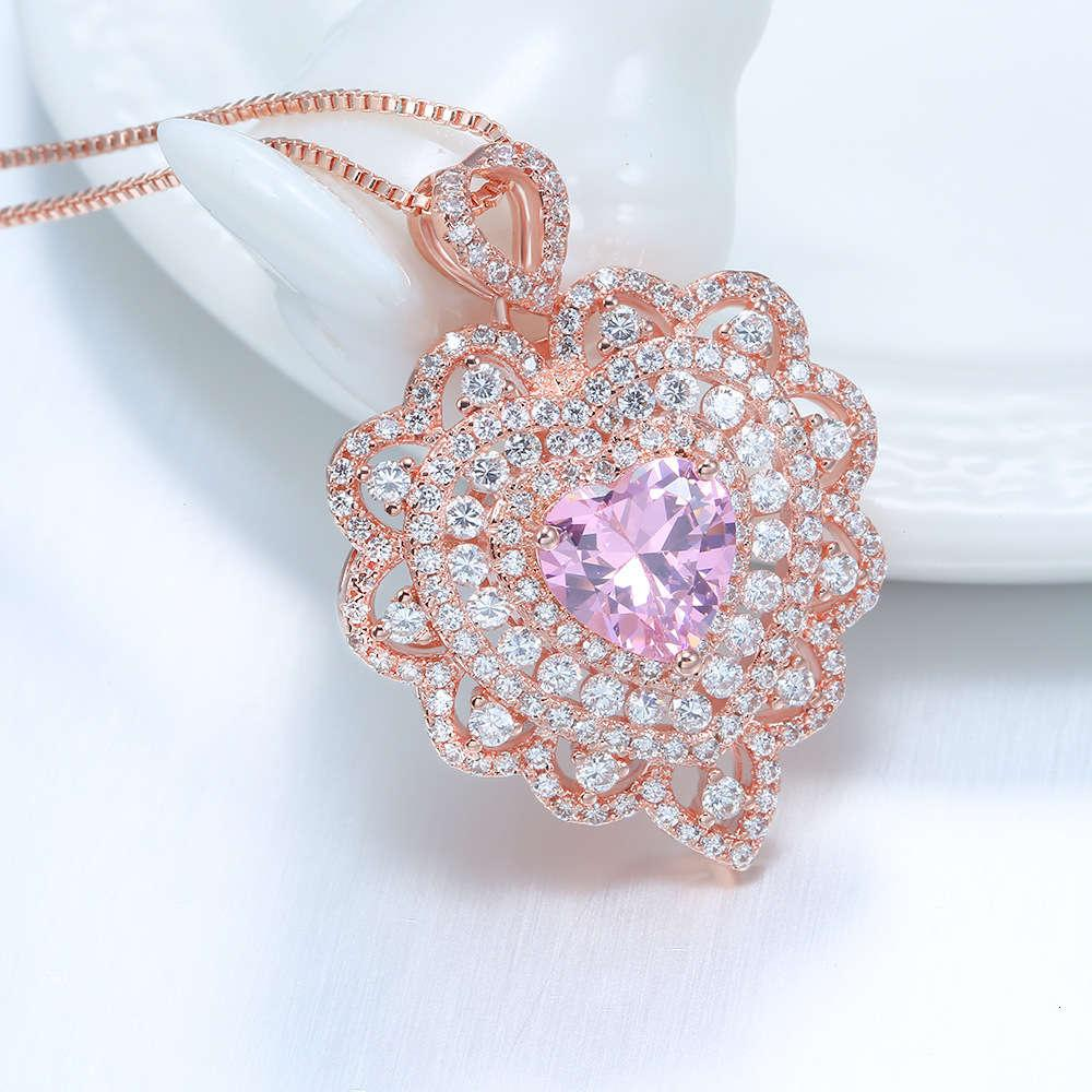 HBP fashion luxury 2021 summer new pink heart-shaped hollow pendant sweet Korean micro inlaid rose gold necklace